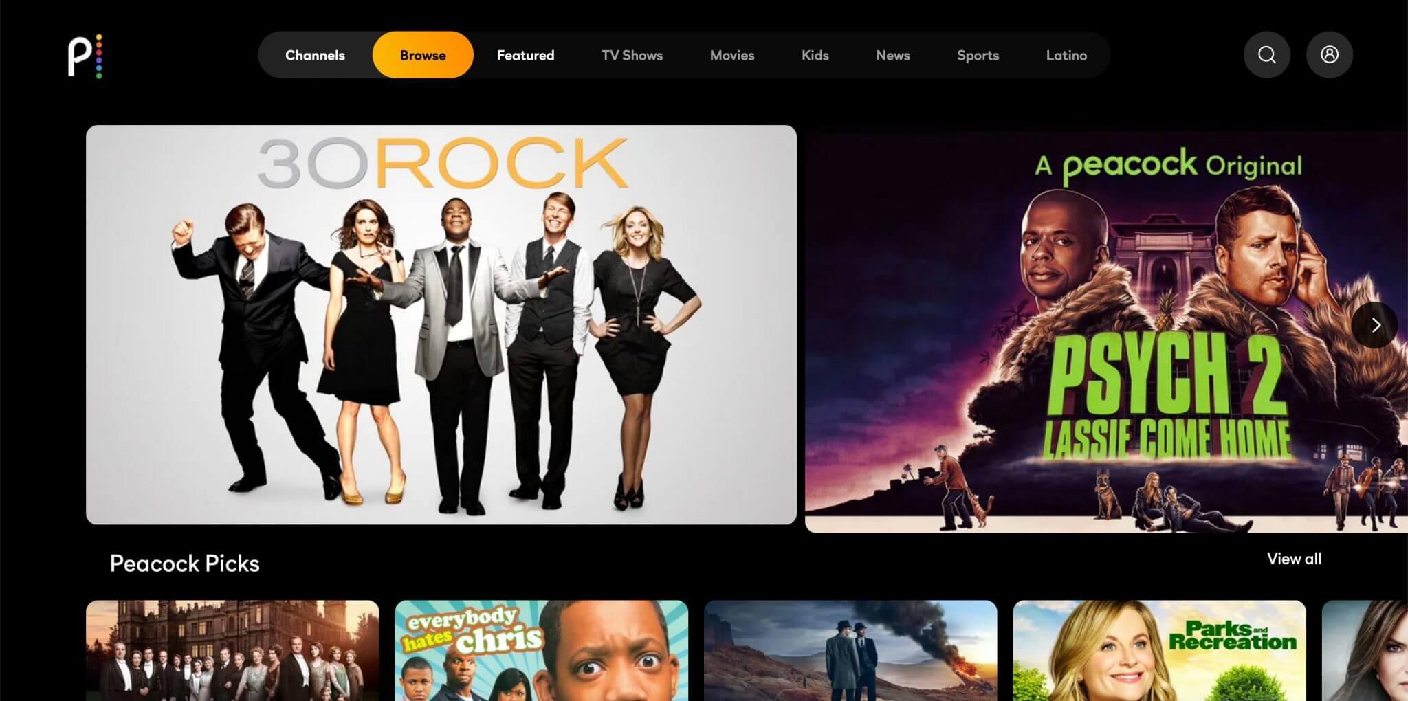 Peacock tv Screenshots